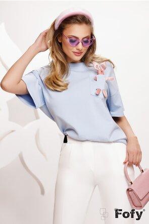 Tricou bleu cu iepuras la buzunar