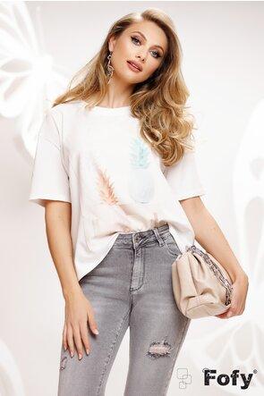 Tricou dama alb cu imprimeu ananasi stilizati