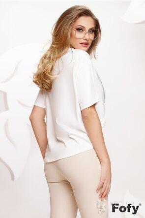 Tricou dama alb cu imprimeu ghinde