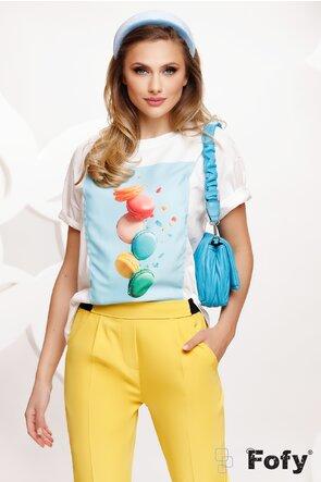 Tricou dama alb cu imprimeu macarons