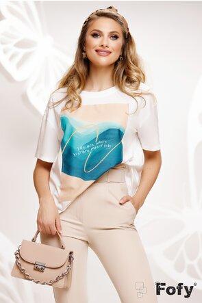 Tricou dama alb cu imprimeu motivational
