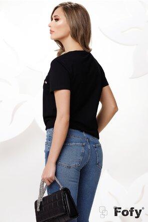 Tricou dama negru cu imprimeu auriu perle si strassuri