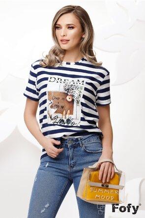 Tricou de dama cu dungi si imprimeu urban