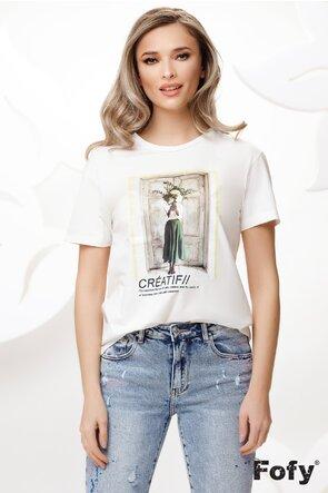 Tricou de dama din bumbac imprimeu urban