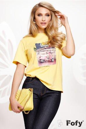 Tricou galben dama cu imprimeu retro chic