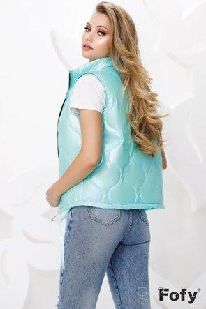 Vesta dama turcoaz cu efect holografic