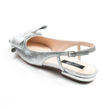 Balerini argintii din piele naturala Top cu funda Mare