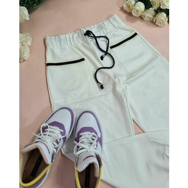 Pantaloni casual albi Rico