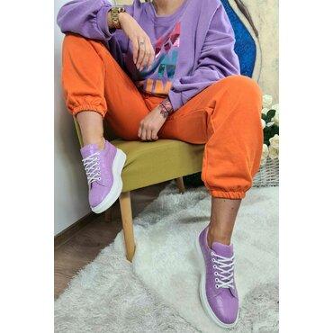 Pantaloni  portocalii casual de dama Color