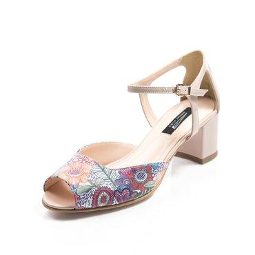 Pantofi bej cu imprimeu color Mini
