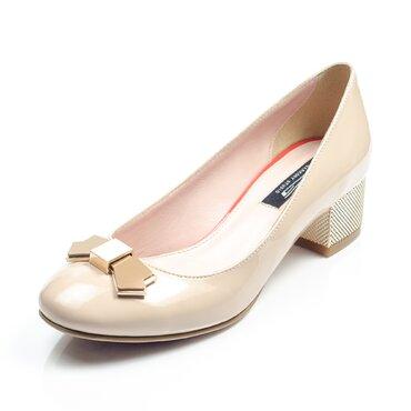 Pantofi  bej de dama Elisabeta cu funda