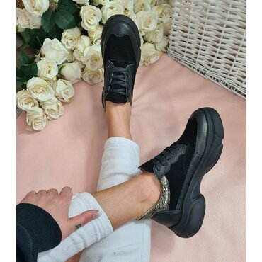 Pantofi casual negri din piele naturala Oxi