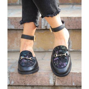 Pantofi casual negrii cu imprimeu Eda