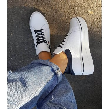 Pantofi casual piele alba bleumarin Alesia