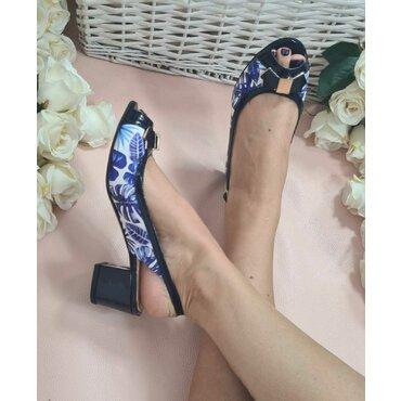 Pantofi de dama imprimeu albastru Retro