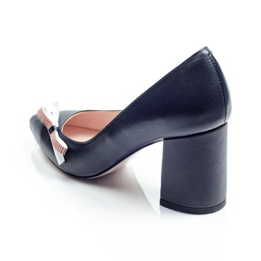 Pantofi de dama piele bleumarin cu funda Good