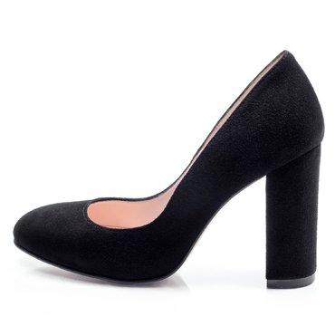 Pantofi de dama piele intoarsa neagra Joli cu toc gros