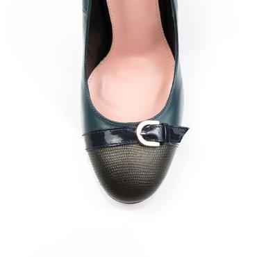 Pantofi de dama piele verde cu presaj Ada