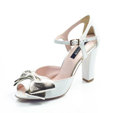 Pantofi de mireasa piele alba Iris cu funda