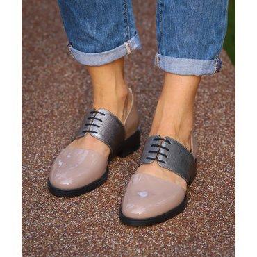 Pantofi din lac bej  si imprimeu Lili