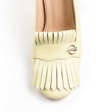Pantofi galben pai din piele naturala Ameli cu franjuri