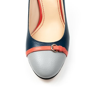 Pantofi gri cu bleumarin din piele naturala Dali