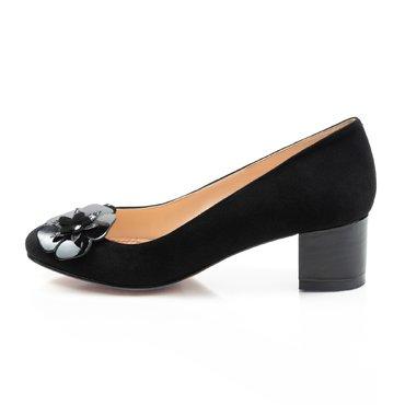 Pantofi negrii din piele intoarsa Elisabeta cu aplicatii florale