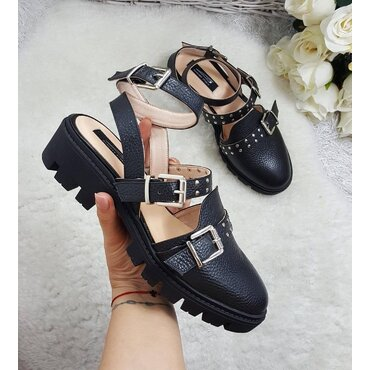 Pantofi negrii din piele naturala Ivy
