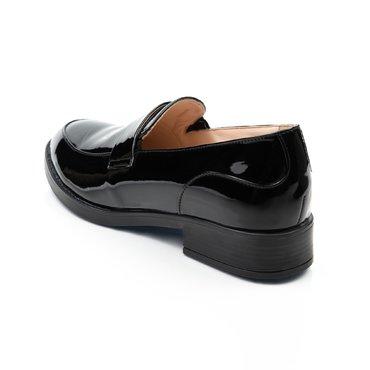 Pantofi oxford din piele naturala lac negru Lera