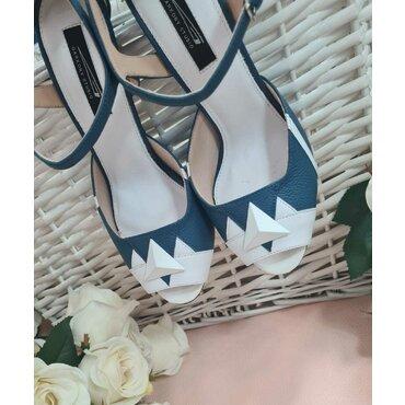 Pantofi piele alb cu albastru Miami
