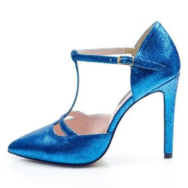 Pantofi piele albastra stralucitoare Ofelia