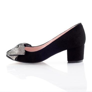 Pantofi piele intoarsa neagra Elisabeta