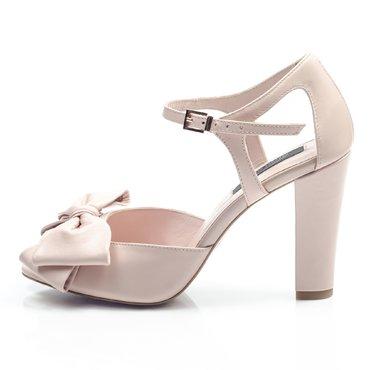 Pantofi piele roz pudra Iris cu funda