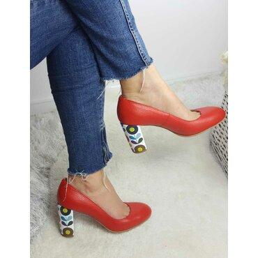 Pantofi rosii din piele naturala Joli Confy