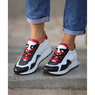 Pantofi sport casual din piele naturala alb cu rosu Daza
