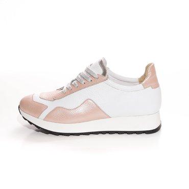 Pantofi sport casual din piele naturala alb cu roz Daza Street