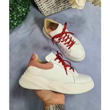 Pantofi sport din piele naturala alba Bao