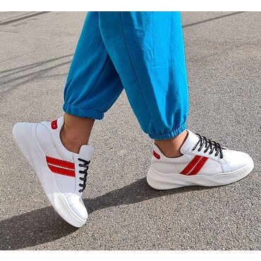 Pantofi sport din piele naturala alba Tris