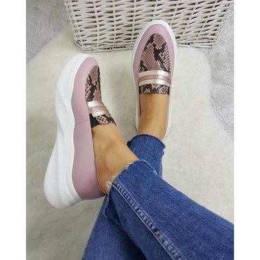 Pantofi sport din piele naturala lila Snake 6010