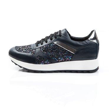 Pantofi sport piele bleumarin cu laminat si glitter Basi