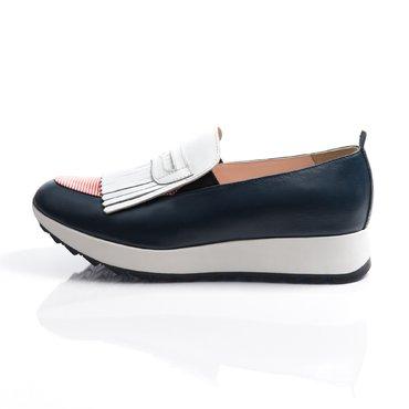 Pantofi sport piele bleumarin Klara cu franjuri