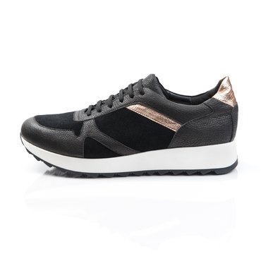 Pantofi sport piele neagra cu auriu Basi