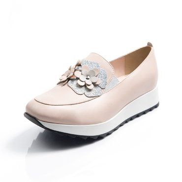 Pantofi sport piele roz pal  Klara cu flori