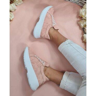 Pantofi sport roz din piele naturala  Alana