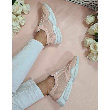 Pantofi sport roz pal din piele naturala Almi