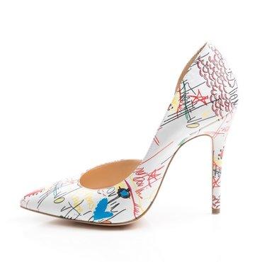 Pantofi stiletto din piele naturala imprimeu scris Eva