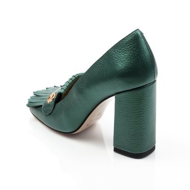 Pantofi verde sidefat din piele naturala Ameli cu franjuri si accesoriu