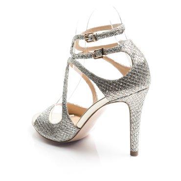 Sandale de ocazie argintii din glitter Lucie