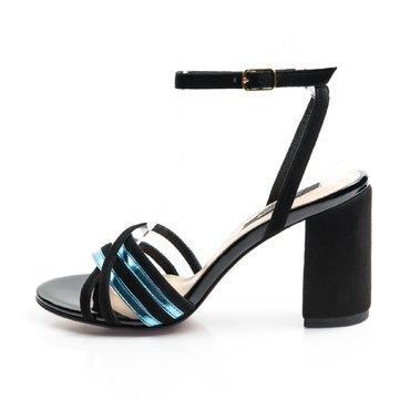 Sandale piele camoscio negru cu laminat bleu Michelle