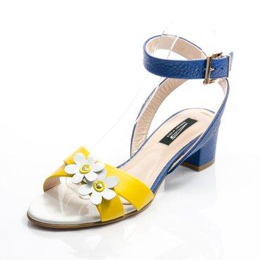 Sandale piele galbena cu albastru Sacha cu flori
